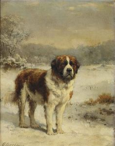 View A Saint-Bernard in the snow by Otto Eerelman on artnet. Browse upcoming and past auction lots by Otto Eerelman. Chien Saint Bernard, St Bernard Puppy, Free Puppies, Dogs And Puppies, Dog Photos, Dog Pictures, Vintage Dog, Vintage Items, Dog Portraits