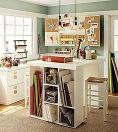 Craft room. love the paper dispenser I want one that is wall mounted - is this pottery barn?