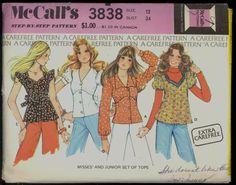Uncut 70s Size 12 Bust 34 Raised Waist Top by VintagePatternsCo1