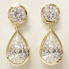 Ayla Wide Bezel Round With Pear Cz Drop Earrings 11 0 Ct Tw