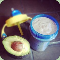 Avocado Blueberry Baby Smoothie  Ingredients  ¼ avocado  ¼ c blueberries  ½ banana  ¼ c baby oatmeal (iron fortified)  ¼ c whole milk yogurt  1 tsp flax seed meal  ¼ c water  2-3 ice cubes  Instructions  Puree all ingredients in a high-speed blender until smooth. Serve immediately or refridgerate for up to 48 hours.