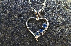 Montana Yogo Sapphire 3-Stone Open Heart Necklace