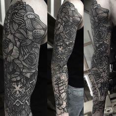Got started on this big coverup sleeve for Richard today, finish it next week hopefully #rotaryworks #elgatonegro #uktta #geometrictattoo #dotwork #dotworktattoo #blxckink #btattooing #blackworkerssubmission  Sponsored by @yayofamilia