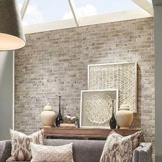 42 Ideas wallpaper accent wall bedroom faux brick for 2019 Brick Accent Walls, Faux Brick Walls, White Brick Walls, Exposed Brick Walls, Brick Tiles, Brick Flooring, Brick Pavers, Grey Brick, Brick Wallpaper Living Room