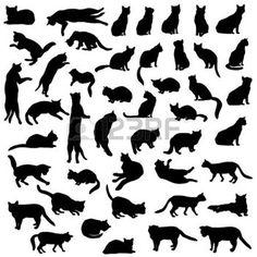 tatouage signe zodiaque: Silhouette de chats ensemble.