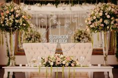 Love this main table idea! Bridal Table, Wedding Table, Wedding Reception, Our Wedding, Dream Wedding, Wedding Ideas, Tall Wedding Centerpieces, Wedding Decorations, Table Decorations