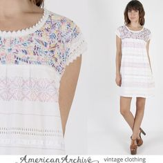 Vintage 70s Mexican Dress Boho Floral Embroidered Hippie Pastel Crochet Mini M prairie dress white dress embroidered dress boho dress by AmericanArchive on Etsy https://www.etsy.com/listing/249778135/vintage-70s-mexican-dress-boho-floral