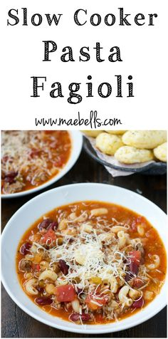 Slow Cooker Pasta Fagioli! A really simple, hearty meal that is perfect for your crock pot!