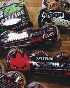 Spitfire wheels back in stock. #spitfirewheels #ridethefire #skateboarding  Open until 9 today.