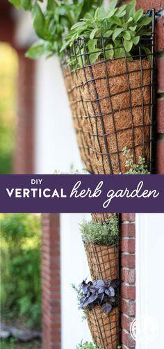 An easy tutorial for a unique DIY Vertical Herb Garden! #DIY #herb #garden via @inspiredbycharm