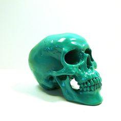 skull head, kelly green pistachio, spooky, skulls, modern home decor, goth, avant garde, weird decor,