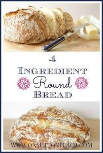 4 Ingredient Round Bread Recipe - On Sutton Place. I already make a Dutch oven bread but this is an interesting recipe. Gotta try it!
