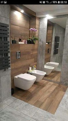 As for gray tiles, they are similar in leroy merlin - porcelain stoneware, n . Washroom Design, Bathroom Design Luxury, Bathroom Layout, Modern Bathroom Design, Small Bathroom, Home Room Design, House Design, Studio Design, Toilette Design