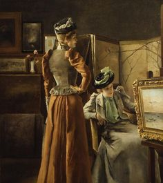 Visit to the Studio, Oil by Alfred Stevens (1823-1906, Belgium)