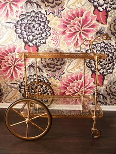 #gold bar cart #wallpaper -- wallpaper for the foyer