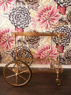 #gold bar cart #wallpaper -- wallpaper for the foyer