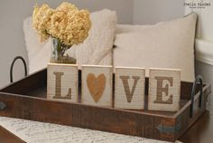 Rustic Wooden Love Letters Blocks with Burlap by StellaMinded
