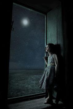 Amazing girl in moonlight