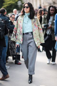 The Best Street Style At Paris Fashion Week SS17 #refinery29  http://www.refinery29.uk/2016/10/124657/street-style-paris-fashion-week-ss17#slide-8  Caroline Issa gives it 10/10 in the style stakes, every day of fashion week. The wide-leg trousers and turquoise blouse are jazzed up with a dog print cape and we dig it....
