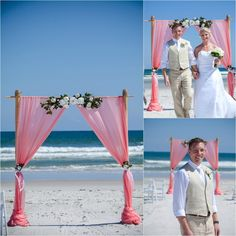 Two Post Bamboo Arbor. Coral Organza. White Floral. Sun and Sea Beach Weddings.