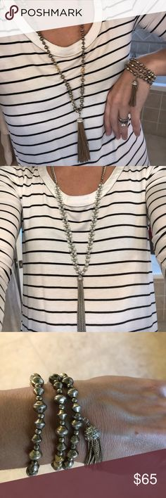 Stella and Dot Milana Tassel necklace & bracelet Stella and Dot Milana Tassel necklace & bracelet. Rarely worn. Necklace retailed for $79 and bracelet retailed for $49. Stella & Dot Jewelry Necklaces