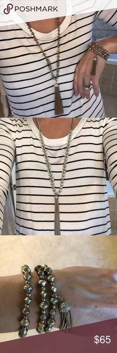 Stella and Dot Milana Tassel necklace & bracelet Stella and Dot Milana Tassel necklace & bracelet. Rarely worn. Necklace retailed for $79 and bracelet retailed for $49. Stella & Dot Jewelry Necklaces