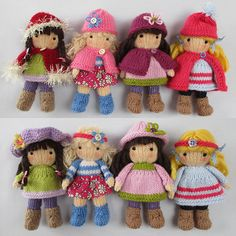 knitted dolls KNITTING PATTERN contains instructions for Little Belles - 4 fashionable little dolls that are fun to make and only require small amounts of yarn. Knitted Doll Patterns, Knitting Patterns Free, Free Knitting, Puppet Patterns, Hat Patterns, Vintage Knitting, Crochet Pattern, Yarn Dolls, Crochet Dolls