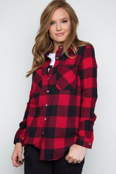 - Details - Size Guide - Model Stats - Contact Be a champion of plaid in this red Ace Flannel Top! Featuring soft, flannel-knit fabric with minimal stretch. Fold-down collar and button-down front. Two