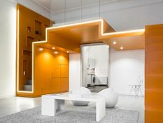 Youth to Youth by batlab. Hungary-based batlab architects have designed Youth to Youth a contemporary apartment that features a bedroom loft. Zeitgenössisches Apartment, Apartment Interior, Apartment Design, Interior Design Magazine, Contemporary Apartment, Contemporary Bathrooms, Contemporary Interior, Contemporary Stairs, Contemporary Building