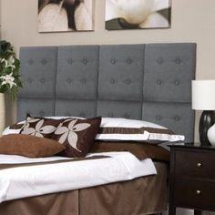 Kiera Grace Luxe Set of 8 Upholstered Headboard Wall Panels with Tufted Buttons, Grey Faux Suede, Gray