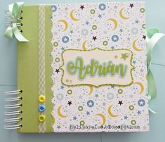 Heli Papeles ♥: Libro de Bautizo para Adrián Mini Albums, Baby Mini Album, Baby Boy Scrapbook, Scrapbook Albums, Baby Cards, Cardmaking, Origami, Baby Shower, Birthday