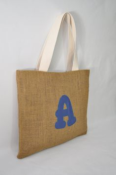 Personalized Rustic Burlap Tote Bag  by VivaEmGifts on Etsy