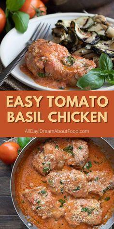 Basil Chicken, Keto Chicken, Chicken Recipes, Keto Recipes, Dinner Recipes, Tomato Basil, Keto Dinner, Meditranian Diet, Dinners