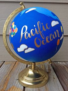 """Custom 12"""" World Globe, Up! Movie Theme, Wedding Guestbook, Disney Nursery, Hand Painted, Gold Stand -- Made To Order"""