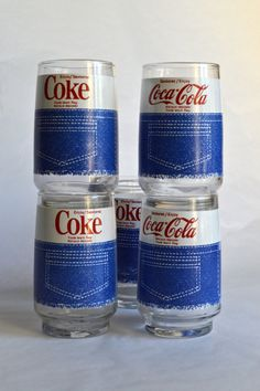 Vintage Coca Cola Denim Cut-offs Glasses Set of por AtomicHawks