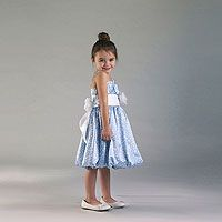 Flower Girl Dress Style 928 - Spaghetti Strap Charmeuse Dotted Bubble Dress