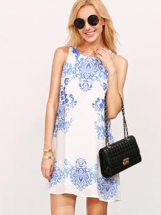 Blue Print In White Sleeveless Shift Dress