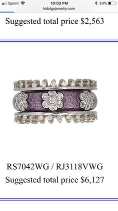 Sterling Silver Ring with Three Gold Spinners /& Amethyst Trois Belle