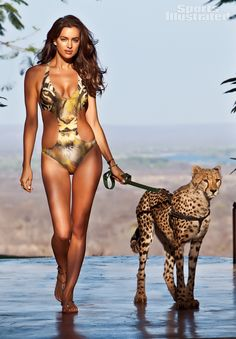Irina Shayk was photographed by Derek Kettela in   Livingstone, Zambia. Swimsuit by Becca by Rebecca Virtue.