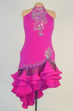 Berry pink lycra and beaded trim