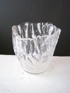 Vintage Hadeland Glassverk Glass Vase Candle by DoceVikaVintage Scandinavian Art, Glass Texture, Glass Candle Holders, Glass Design, Punch Bowls, Etsy Store, Vintage Shops, Glass Art