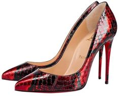 Get the must-have pumps of this season! These Christian Louboutin Black Pigalle Follies 100 Loub Red Snakeskin Ayers Metalgloss Heel Pumps Size EU (Approx. Hot Heels, Black Heels, Pumps Heels, Stiletto Heels, Stilettos, Christian Louboutin Heels, Christian Dior, Louboutin Shoes, Shoe Storage Bags