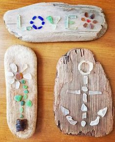 Seaglass Art #seaglass #art #artsandcrafts #crafts #crafty #love #daisy #anchor #beachglass #mermaidtears #driftwood #ocean #treasures #flower #diy #wintercrafts #winter #homedecor #decor