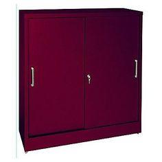 Sandusky Sliding 2 Door Storage Cabinet Color: Burgundy