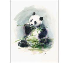 Panda  Original Watercolor Painting 9x12 inches by CMwatercolors