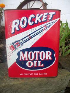 2 gallon Rocket motor oil can