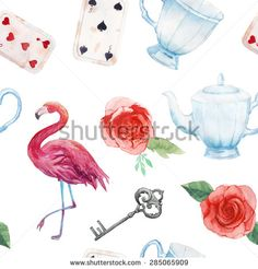 Watercolor wonderland seamless pattern. Hand drawn vintage wallpaper with flamingo, playing cards, old silver key, tea cup and teapot, white and red roses. Vector fairy tale  background