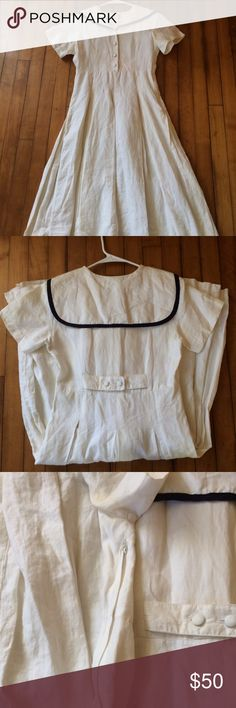 Vintage Linen Sailor Dress Side zipper. Buttons up the front. Silk liner. Pit staining and other marks and loose stitching. Staining may come out with dry cleaning. Heavy weight linen. Originally a dress-up uniform for an all-girls school. Dresses