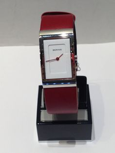 Ladies Bering white with red leather strap Square Watch, Red Leather, Watches, Lady, Accessories, Fashion, Moda, Wristwatches, Fashion Styles