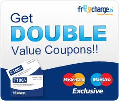 MasterCard users get DOUBLE value coupons on recharges @FreeCharge.com. Offer open for a limited time.